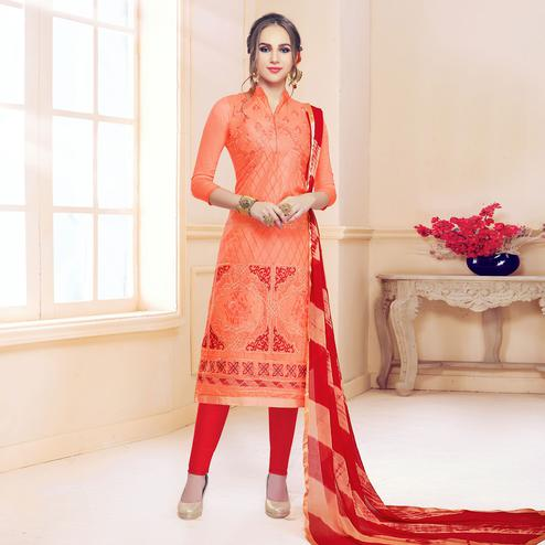 Favorite Orange Colored Partywear Embroidered Cotton Dress Material