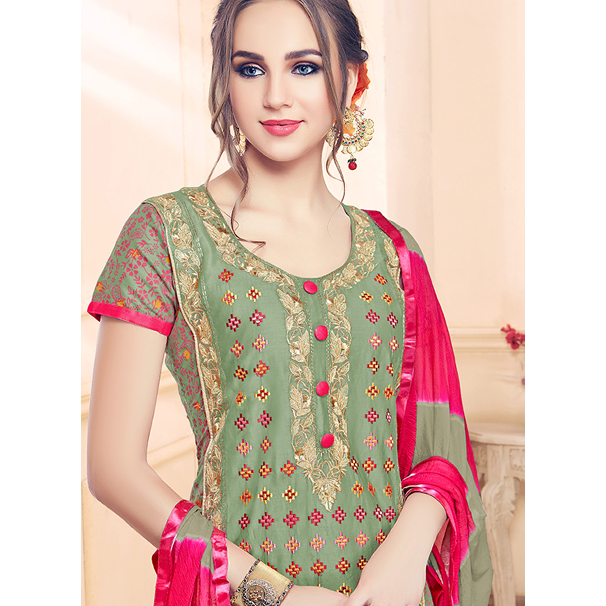 Different Olive Green Colored Partywear Embroidered Cotton Dress Material