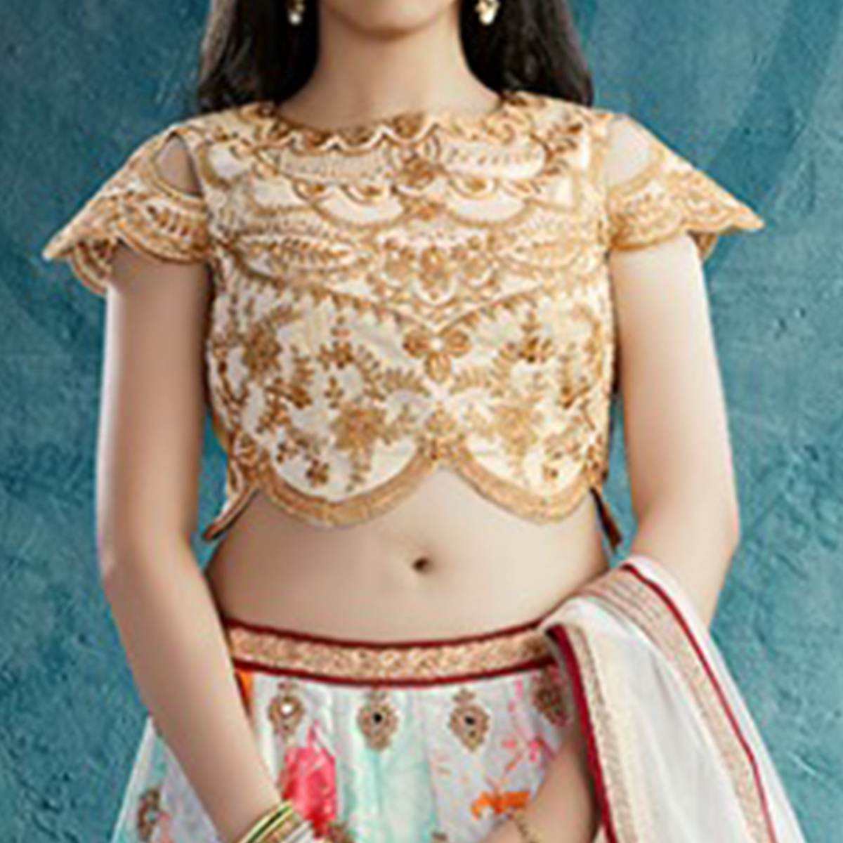 Breathtaking Off-White Colored Party Wear Embroidered Crape Lehenga