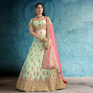 Impressive Pale Green Colored Party Wear Embroidered Silk Lehenga
