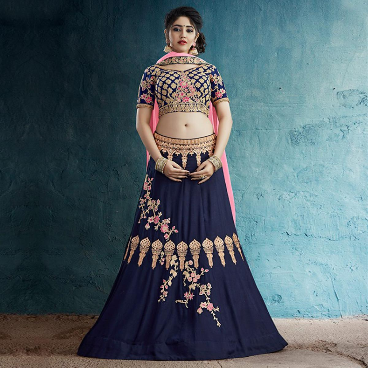 Innovative Navy Blue Colored Party Wear Embroidered Rayon Silk Lehenga