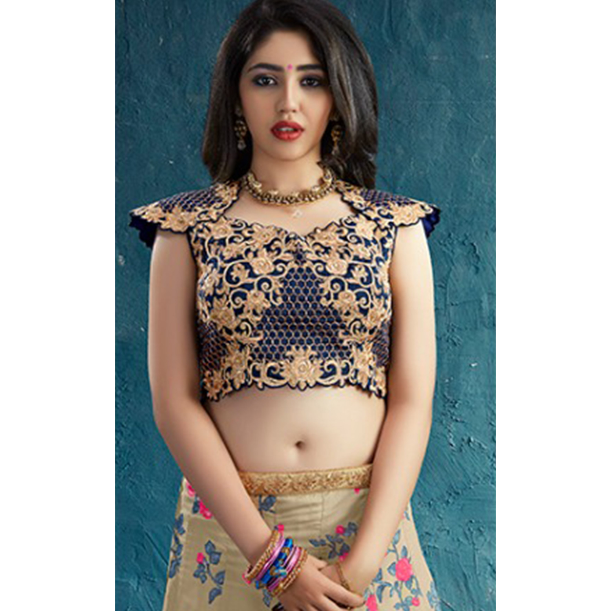 Arresting Beige Colored Party Wear Embroidered Muslin Silk Lehenga