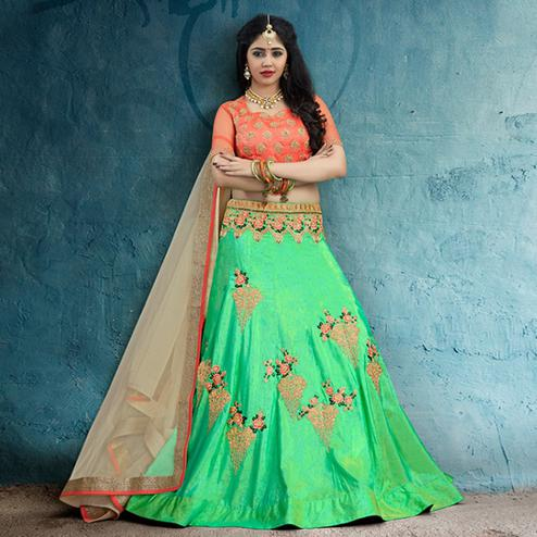 Adorable Green Colored Party Wear Embroidered Silk Lehenga