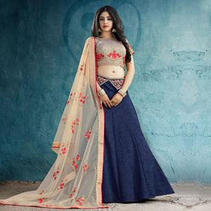 Captivating Navy Blue Colored Party Wear Embroidered Silk Lehenga