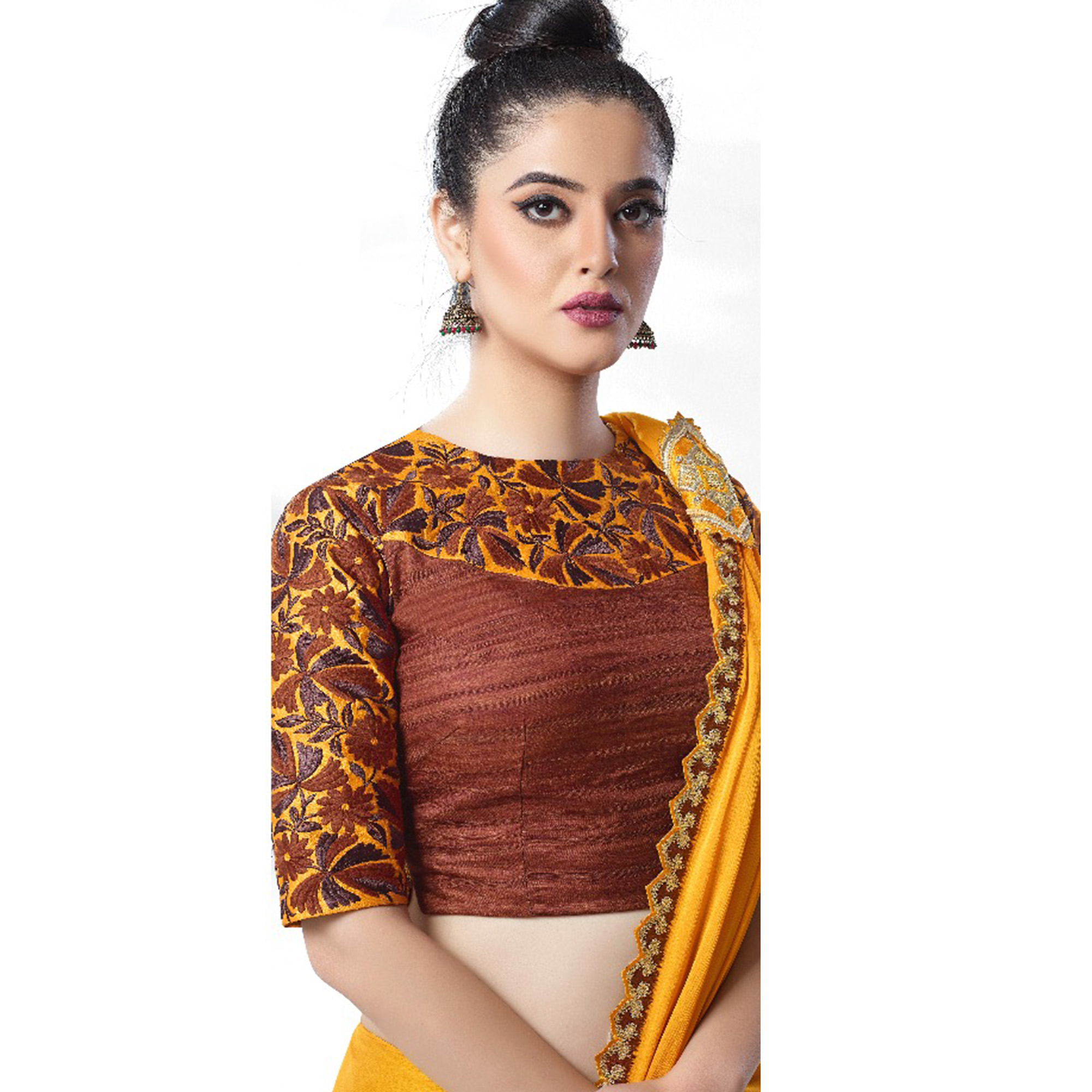 Arresting Yellow Colored Party Wear Embroidered Art Silk Saree