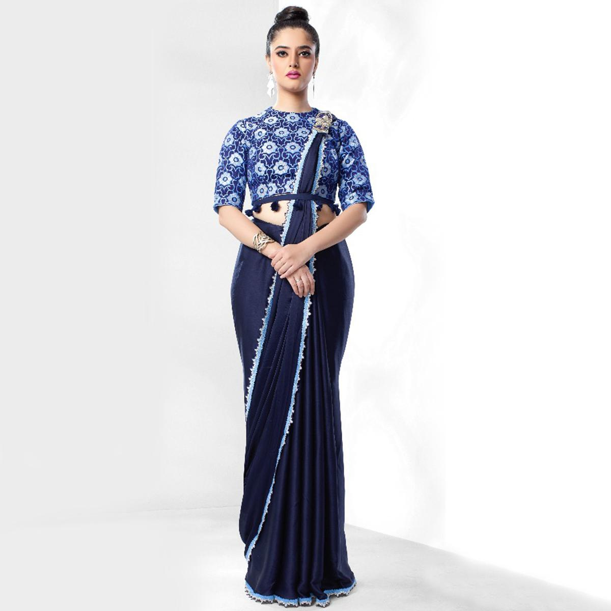 Exceptional Navy Blue Colored Party Wear Embroidered Art Silk Saree