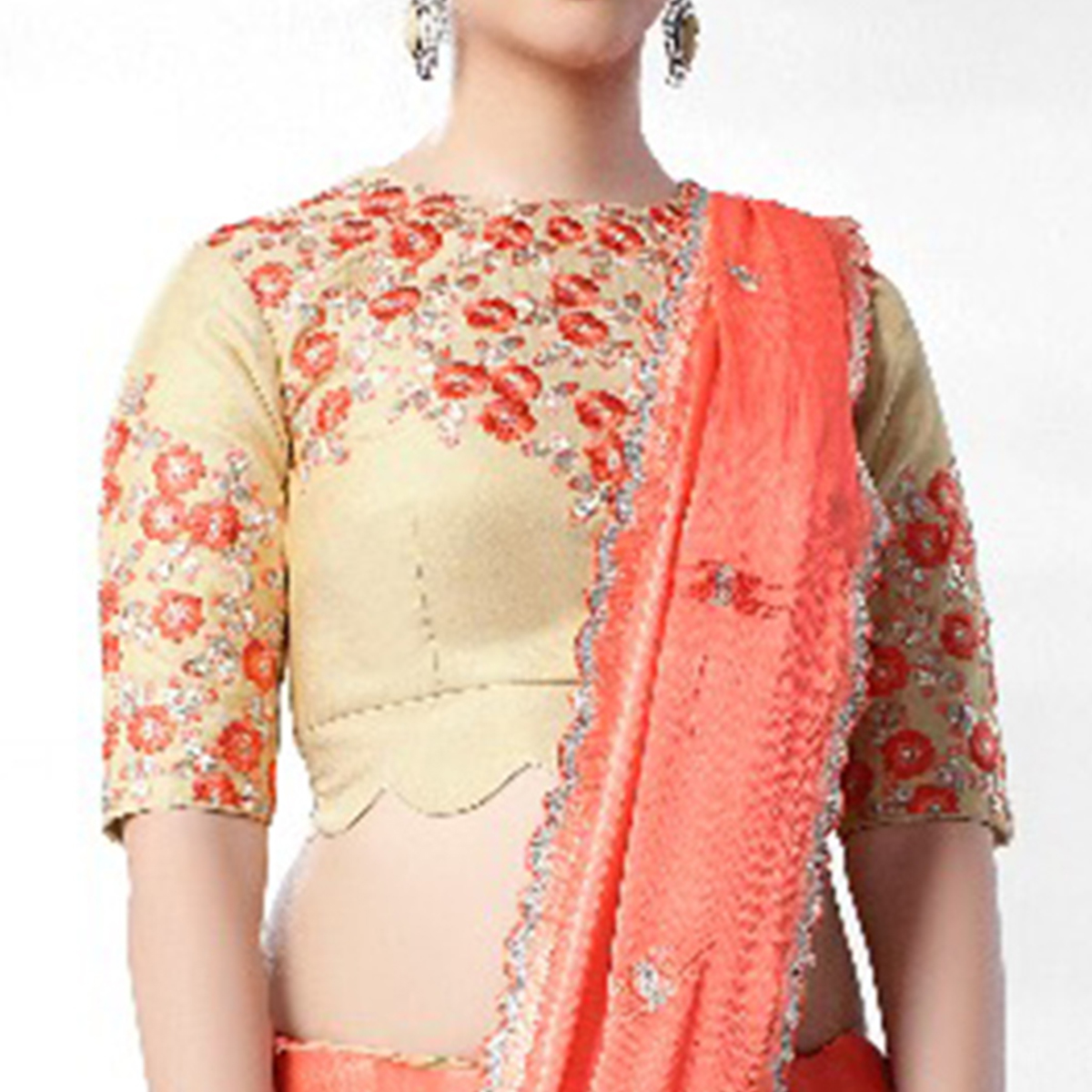 Excellent Peach Colored Party Wear Embroidered Art Silk Saree