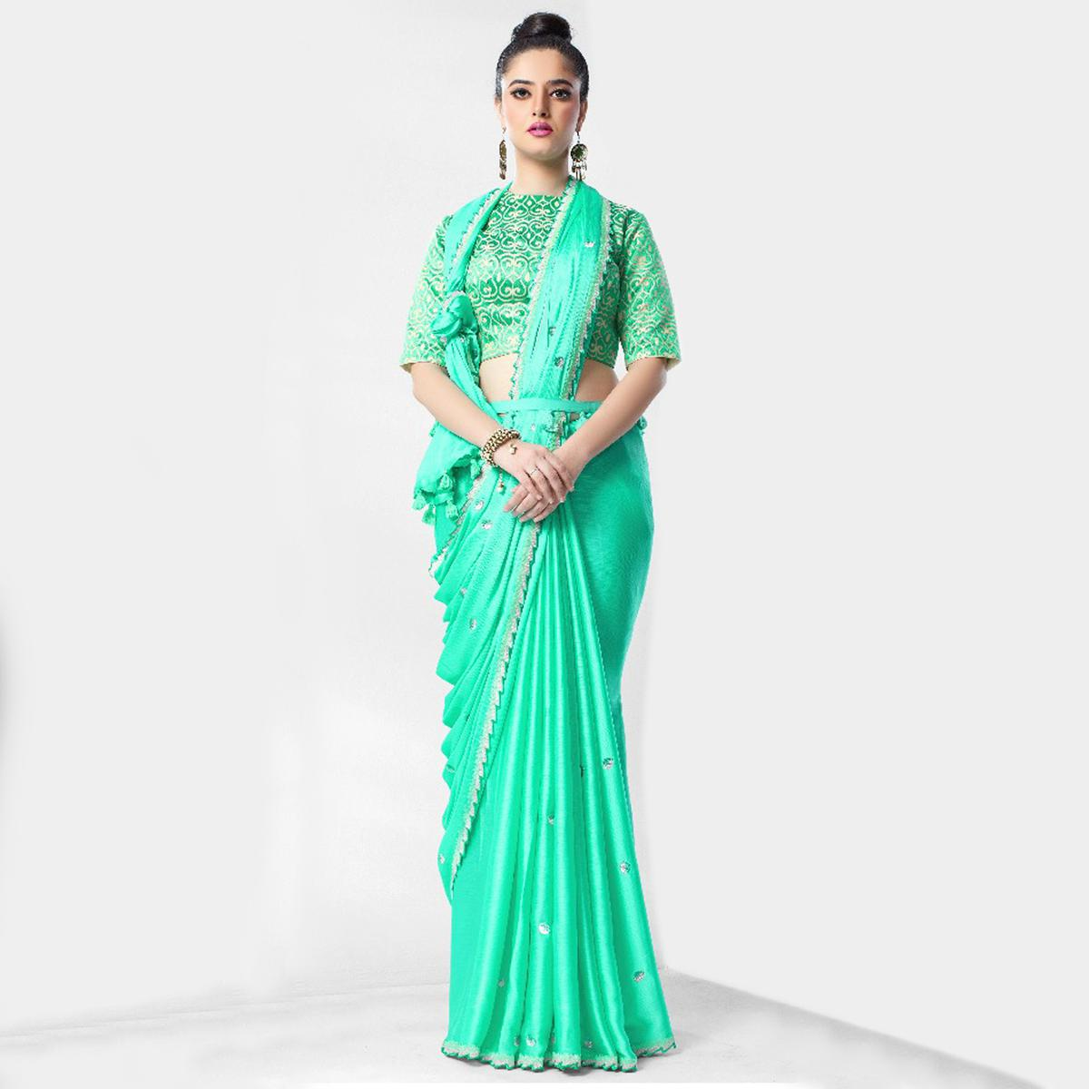 Ethnic Sea Green Colored Party Wear Embroidered Art Silk Saree