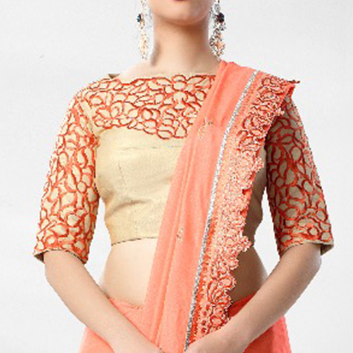 Starring Peach Colored Party Wear Embroidered Art Silk Saree