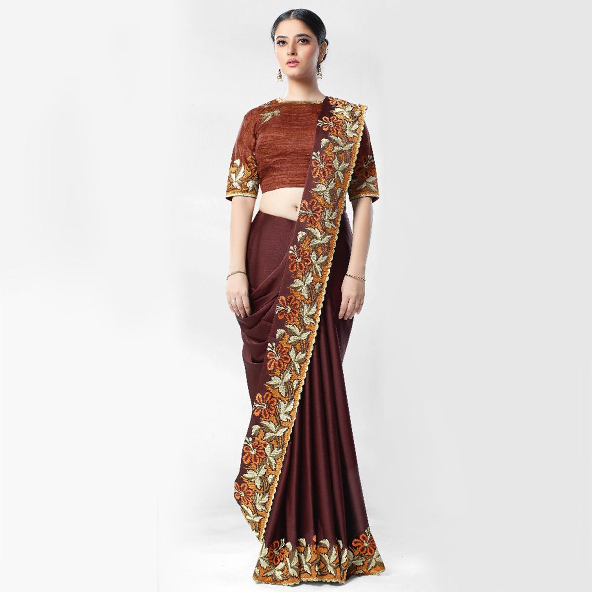Surpassing Brown Colored Party Wear Embroidered Art Silk Saree