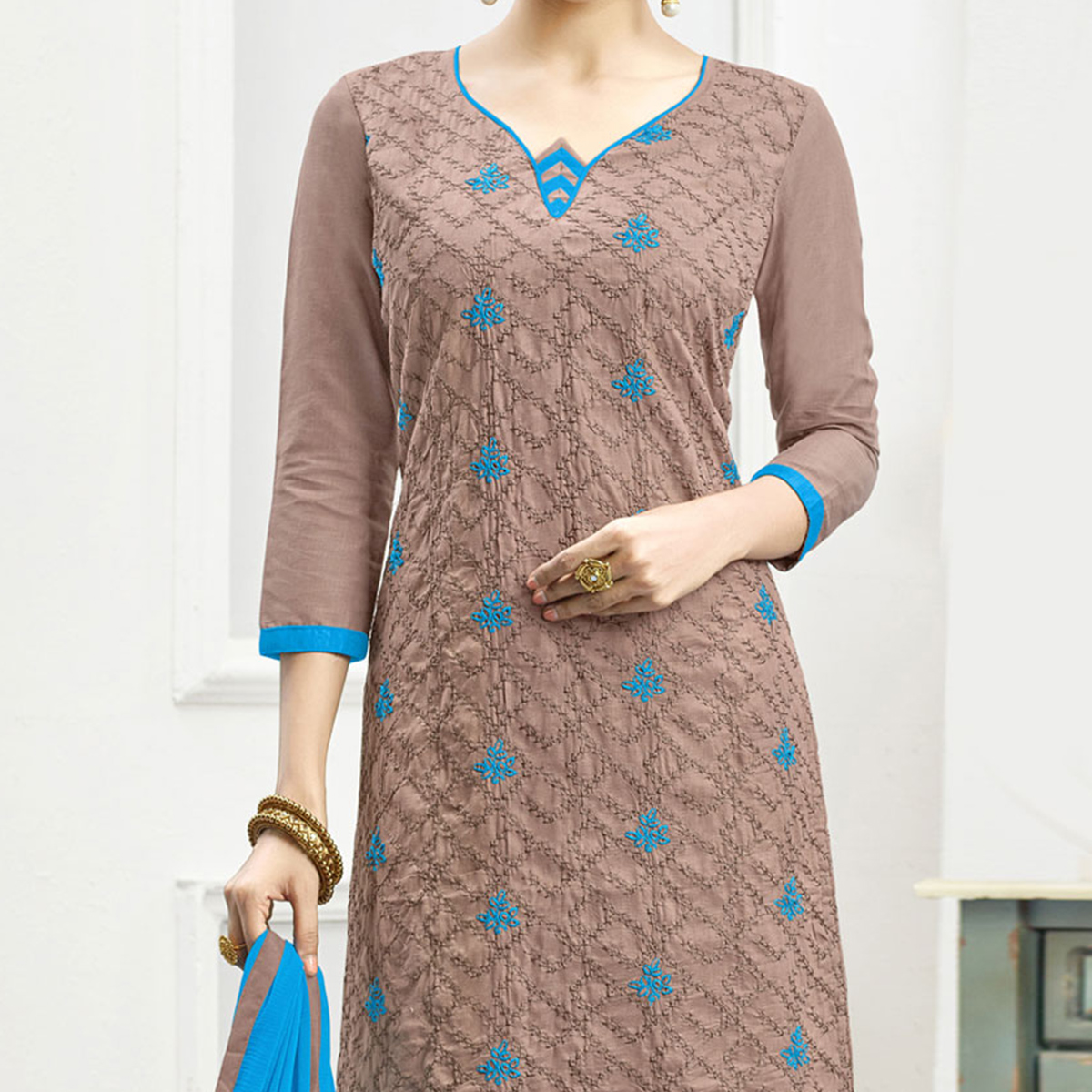 Flamboyant Light Brown - Turquoise Blue Embroidered Cotton Dress Material