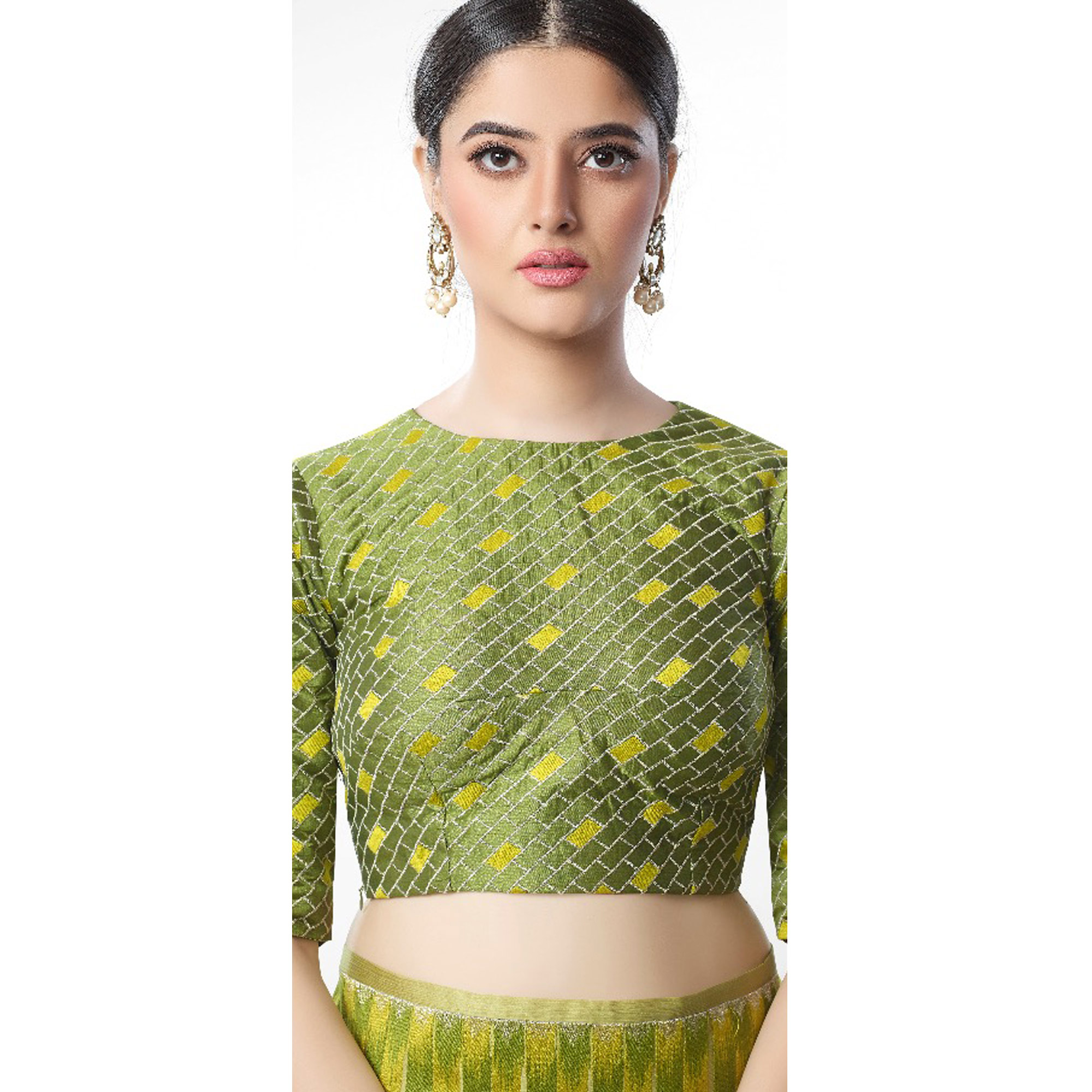 Entrancing Light Olive Green Colored Party Wear Embroidered Art Silk Saree