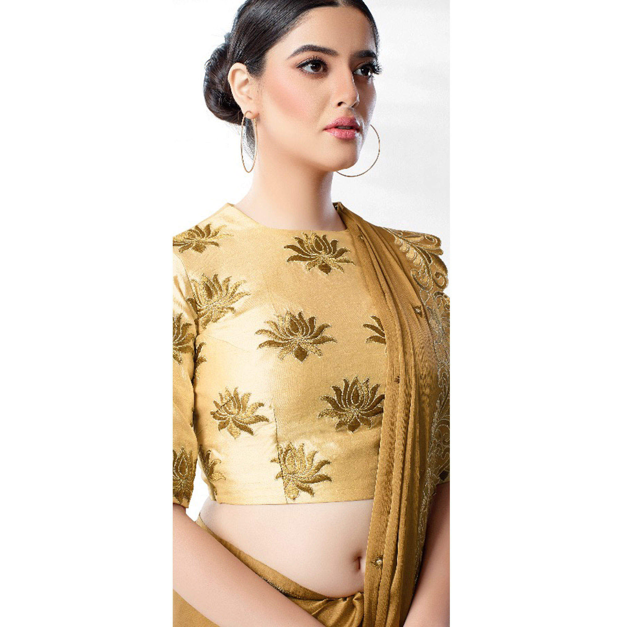 Imposing Golden Yellow Colored Party Wear Embroidered Art Silk Saree