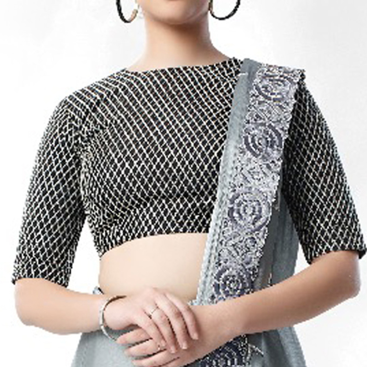 Blissful Grey Colored Party Wear Embroidered Art Silk Saree