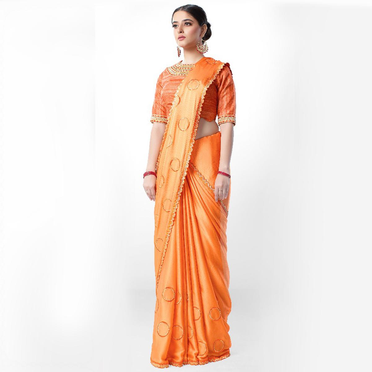 Pleasant Orange Colored Party Wear Embroidered Art Silk Saree