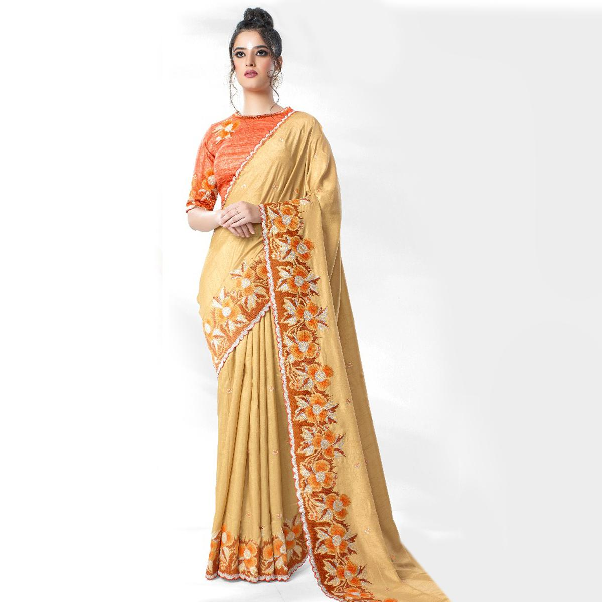 Unique Beige Colored Party Wear Embroidered Art Silk Saree