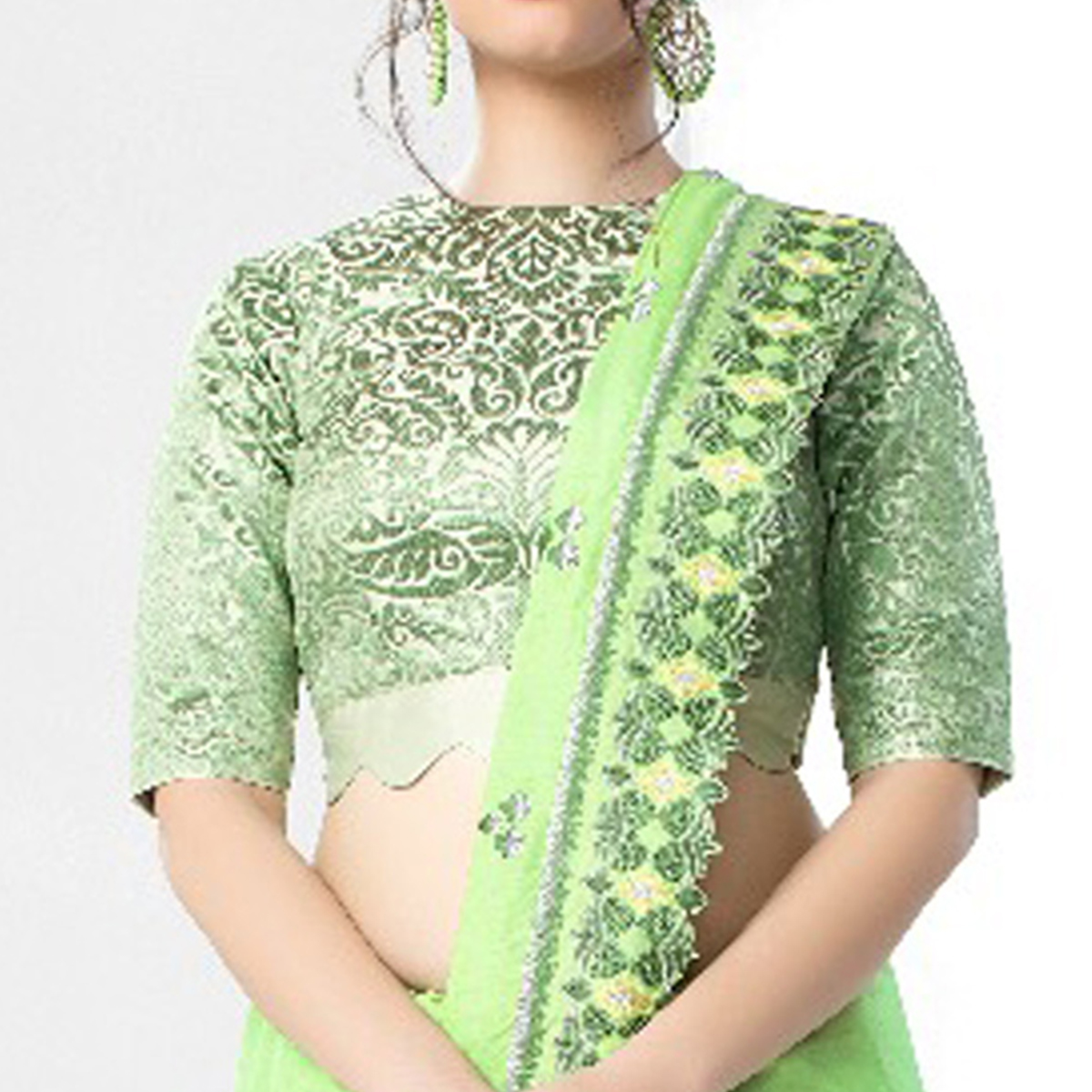 Refreshing Pale Green Colored Party Wear Embroidered Art Silk Saree