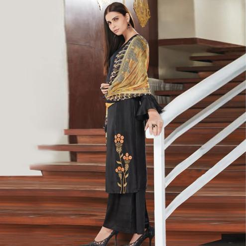 Stunning Black Colored Party Wear Embroidered Upada Silk Suit