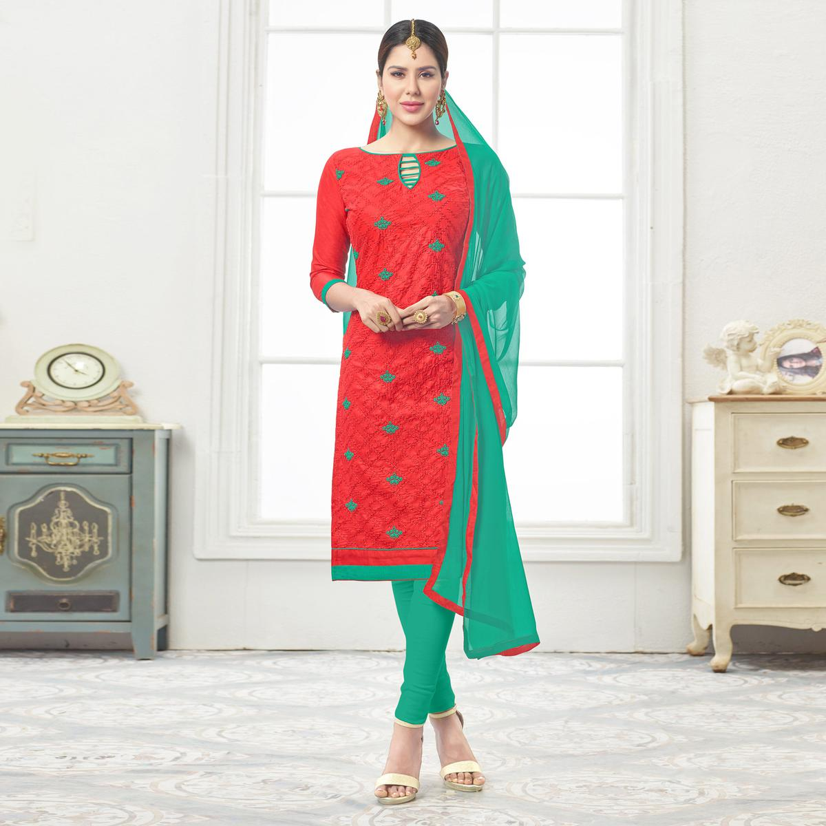 Ravishing Red - Green Embroidered Cotton Dress Material