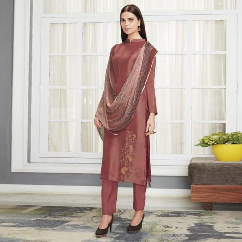 Blooming Brown Colored Party Wear Embroidered Upada Silk Suit