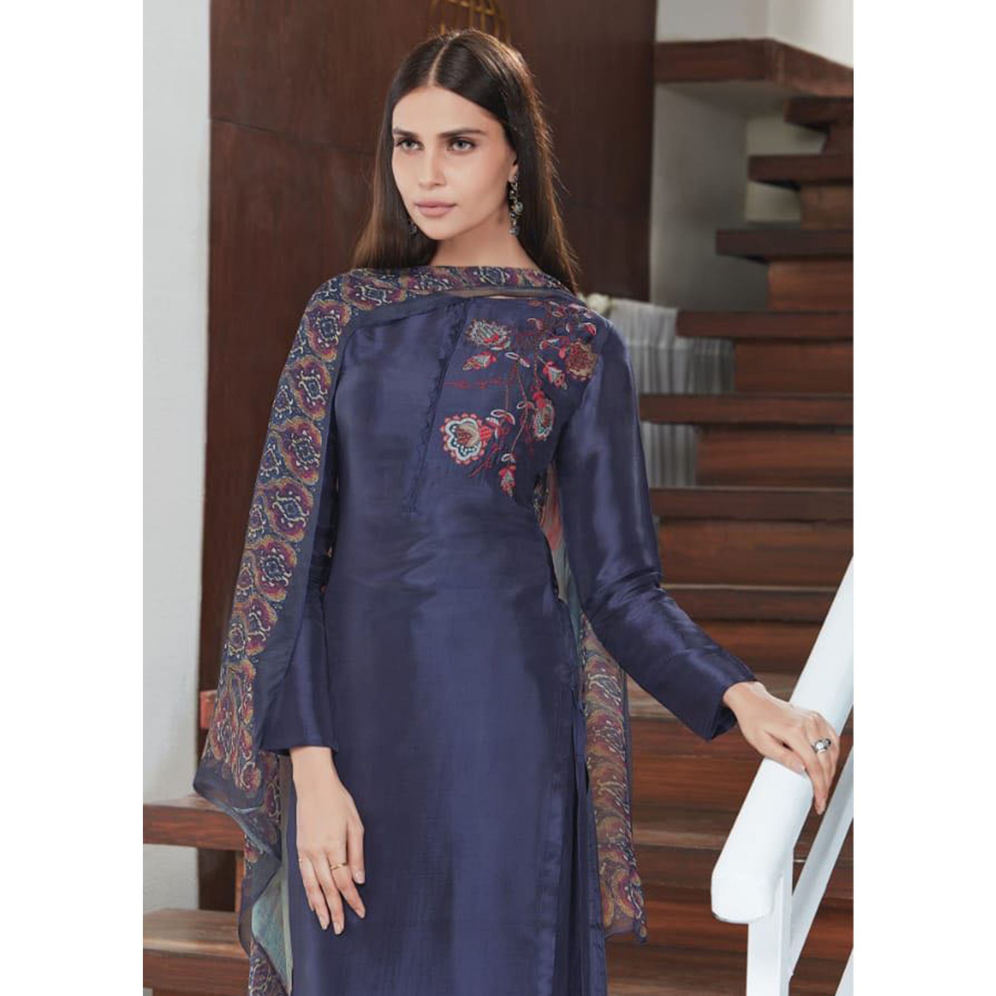 Marvellous Navy Blue Colored Party Wear Embroidered Upada Silk Suit