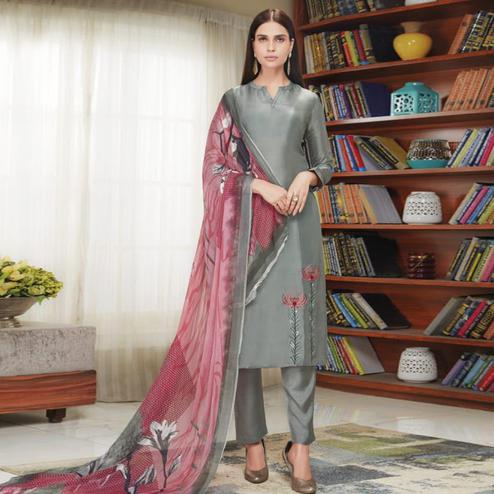 Mesmerising Grey Colored Party Wear Embroidered Upada Silk Suit