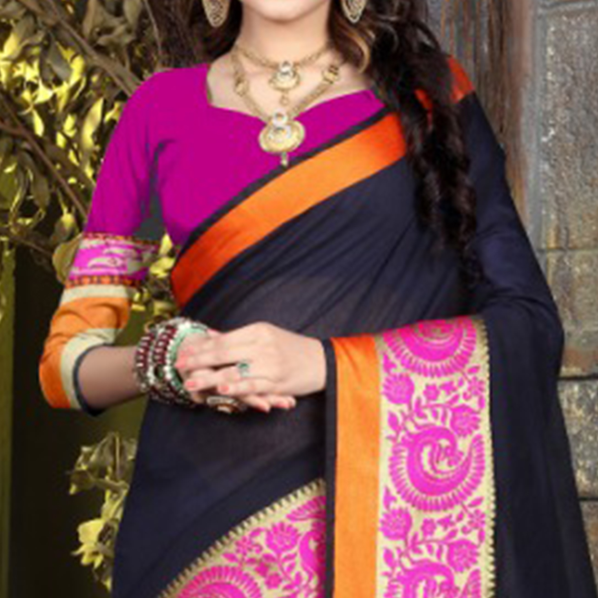 Adorable Navy Blue Colored Festive Wear Woven Cotton Saree