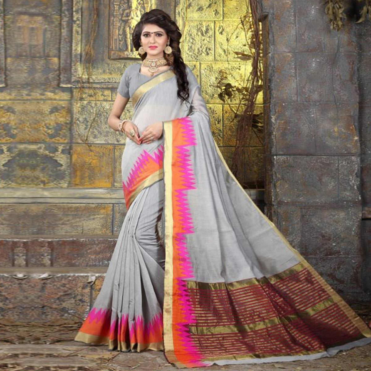 Gorgeous Grey Colored Festive Wear Woven Cotton Saree