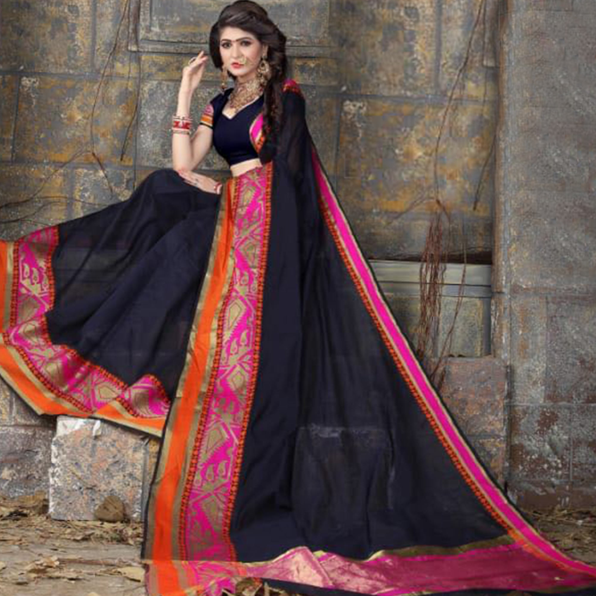 Classy Navy Blue Colored Festive Wear Woven Cotton Saree