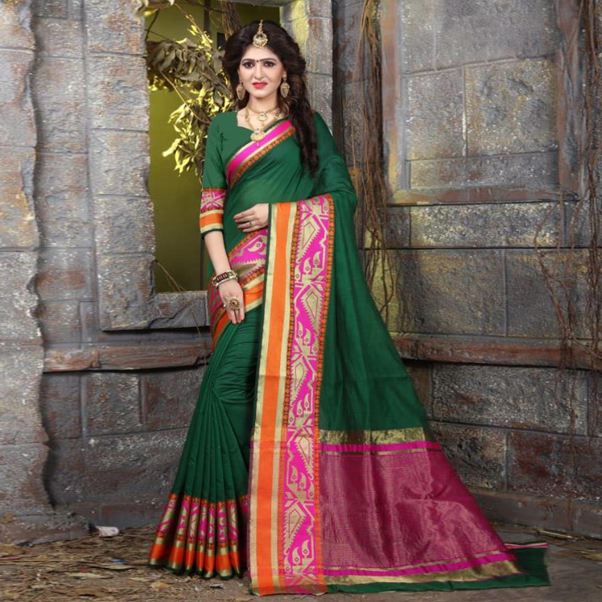 Glorious Bottle Green Colored Festive Wear Woven Cotton Saree