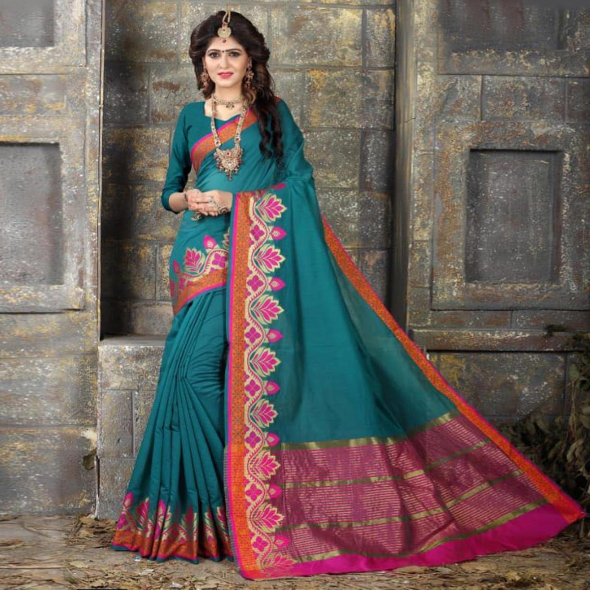 Graceful Teal Blue Colored Festive Wear Woven Cotton Saree