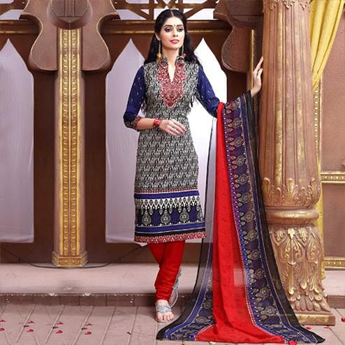 Blue - Red Printed Salwar Suit