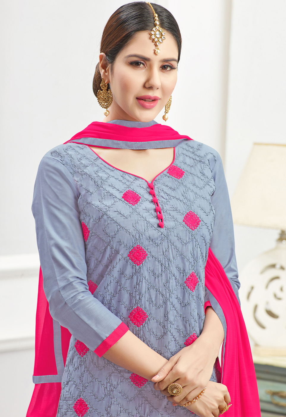 Stunning Grey - Fuschia Pink Embroidered Cotton Dress Material