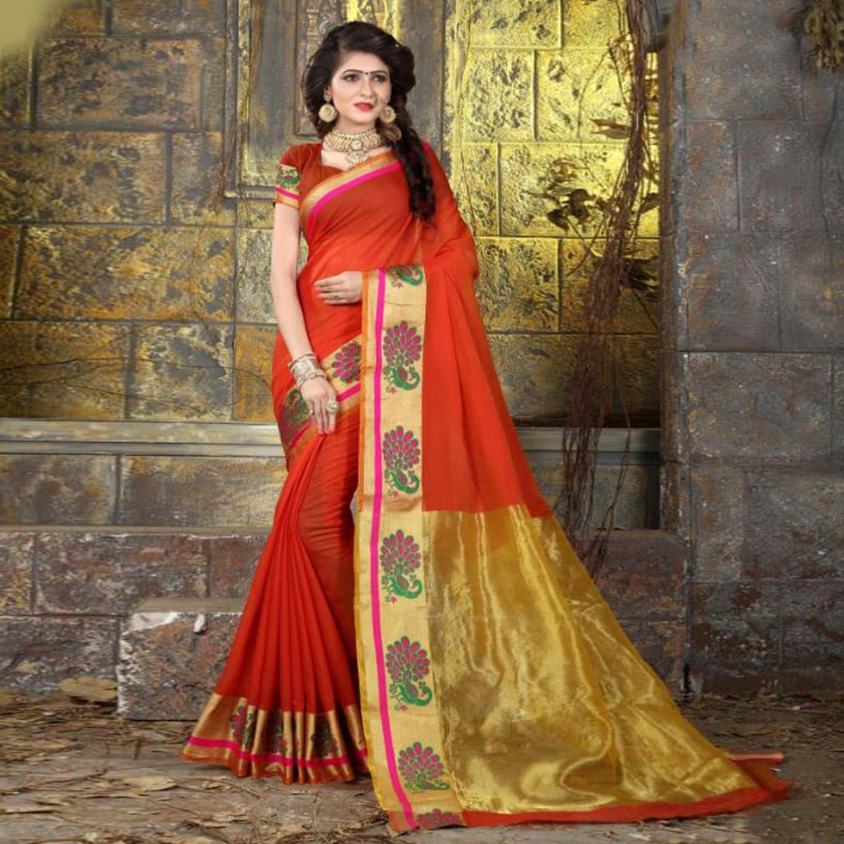 Lovely Red Colored Festive Wear Woven Cotton Saree