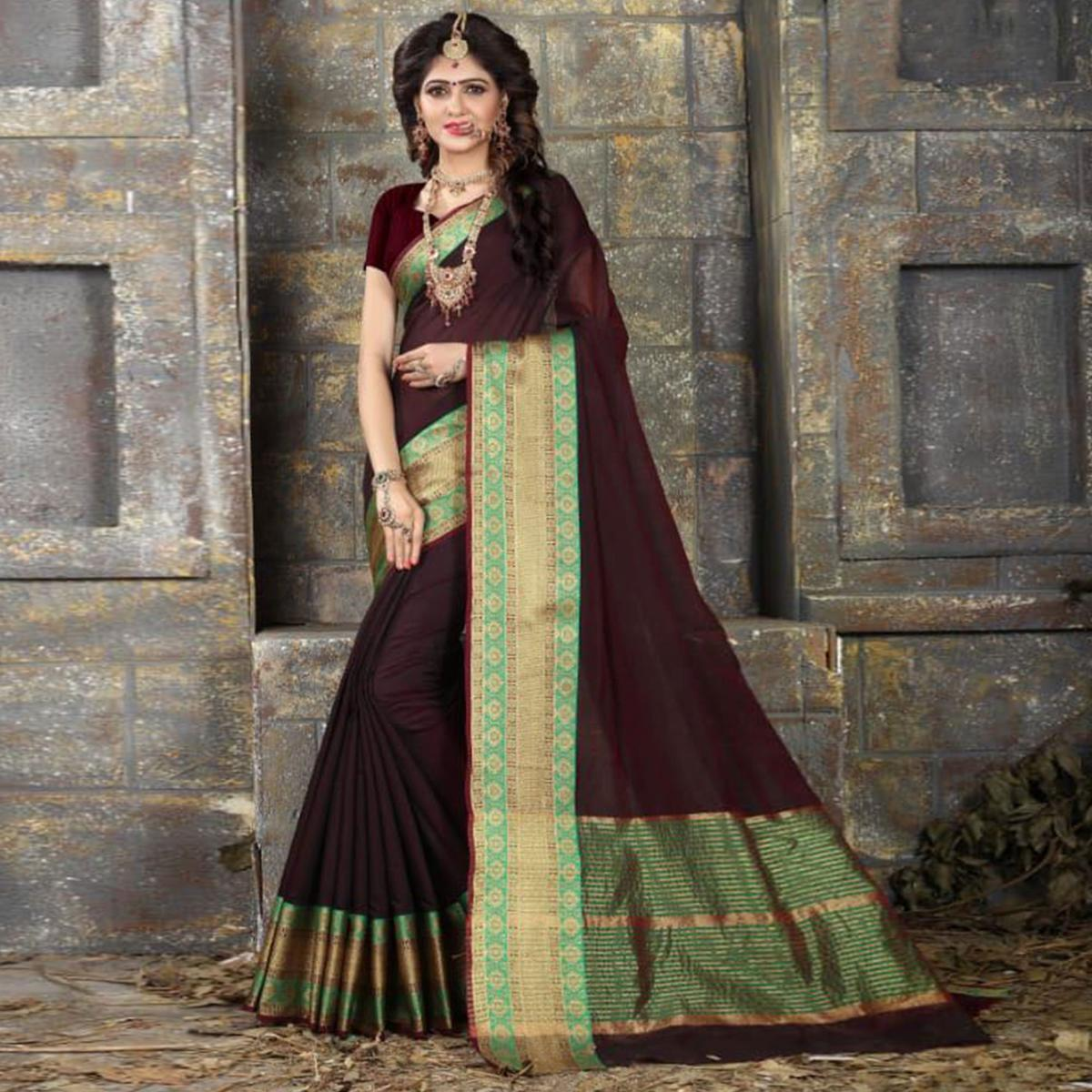 Pretty Dark Wine Colored Festive Wear Woven Cotton Saree