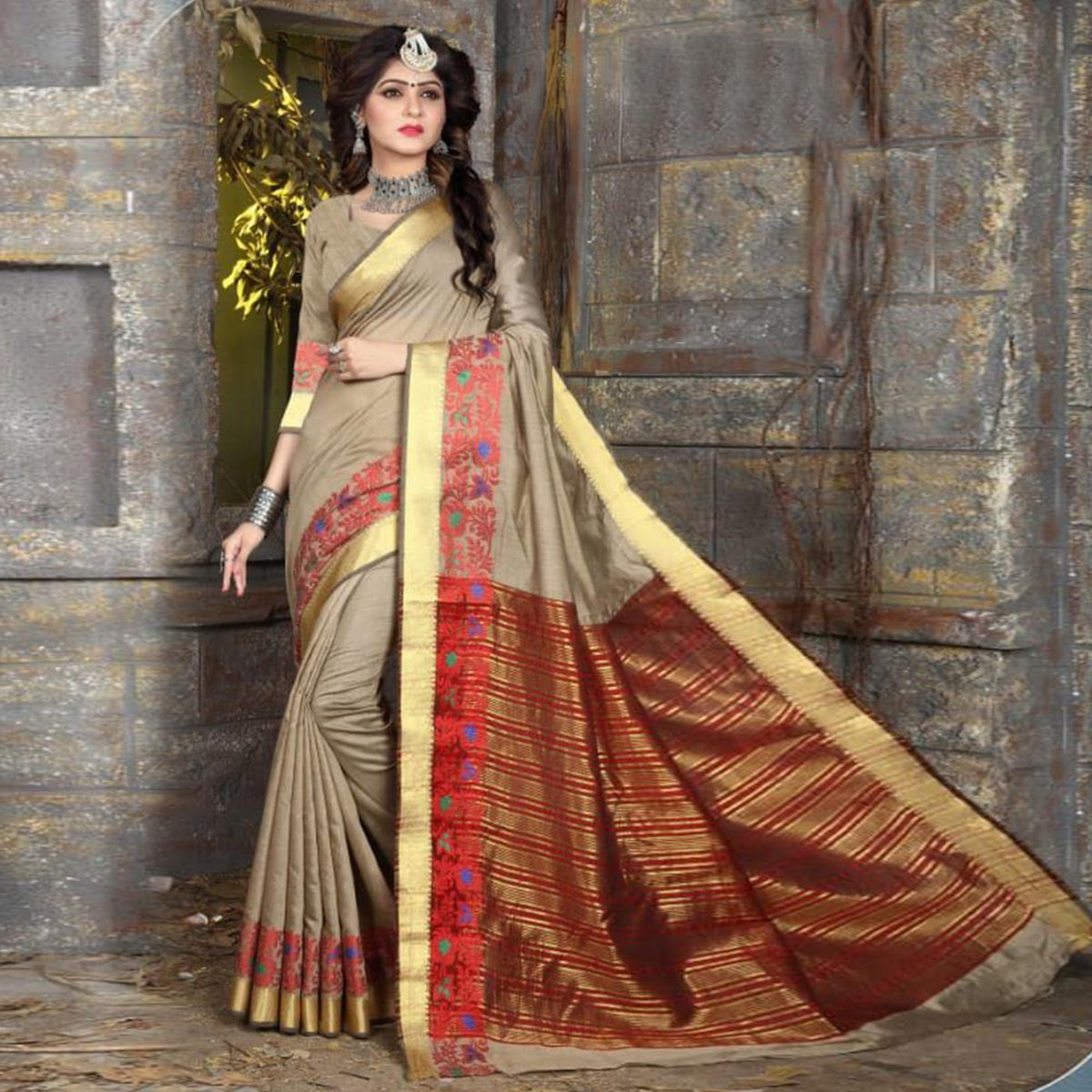 Charming Beige Colored Festive Wear Woven Cotton Saree