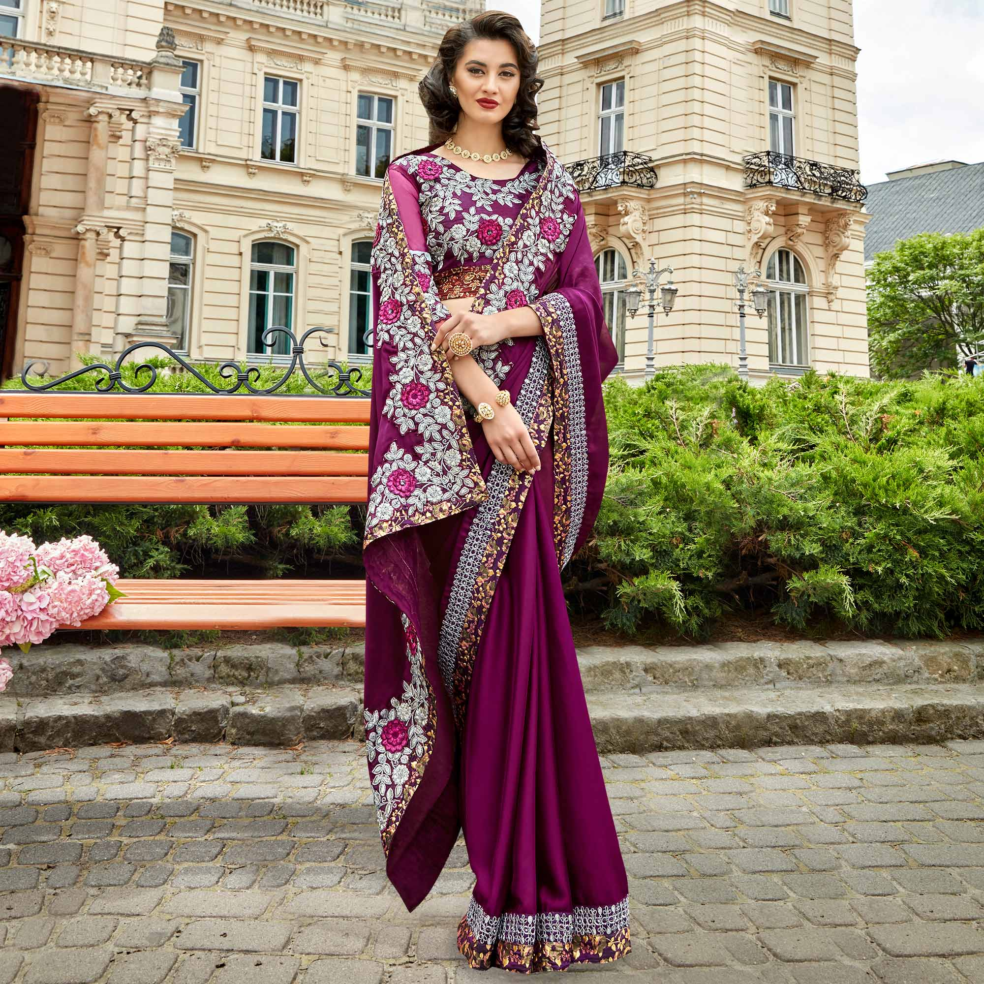 Surpassing Dark Purple Colored Party Wear Embroidered Georgette Saree
