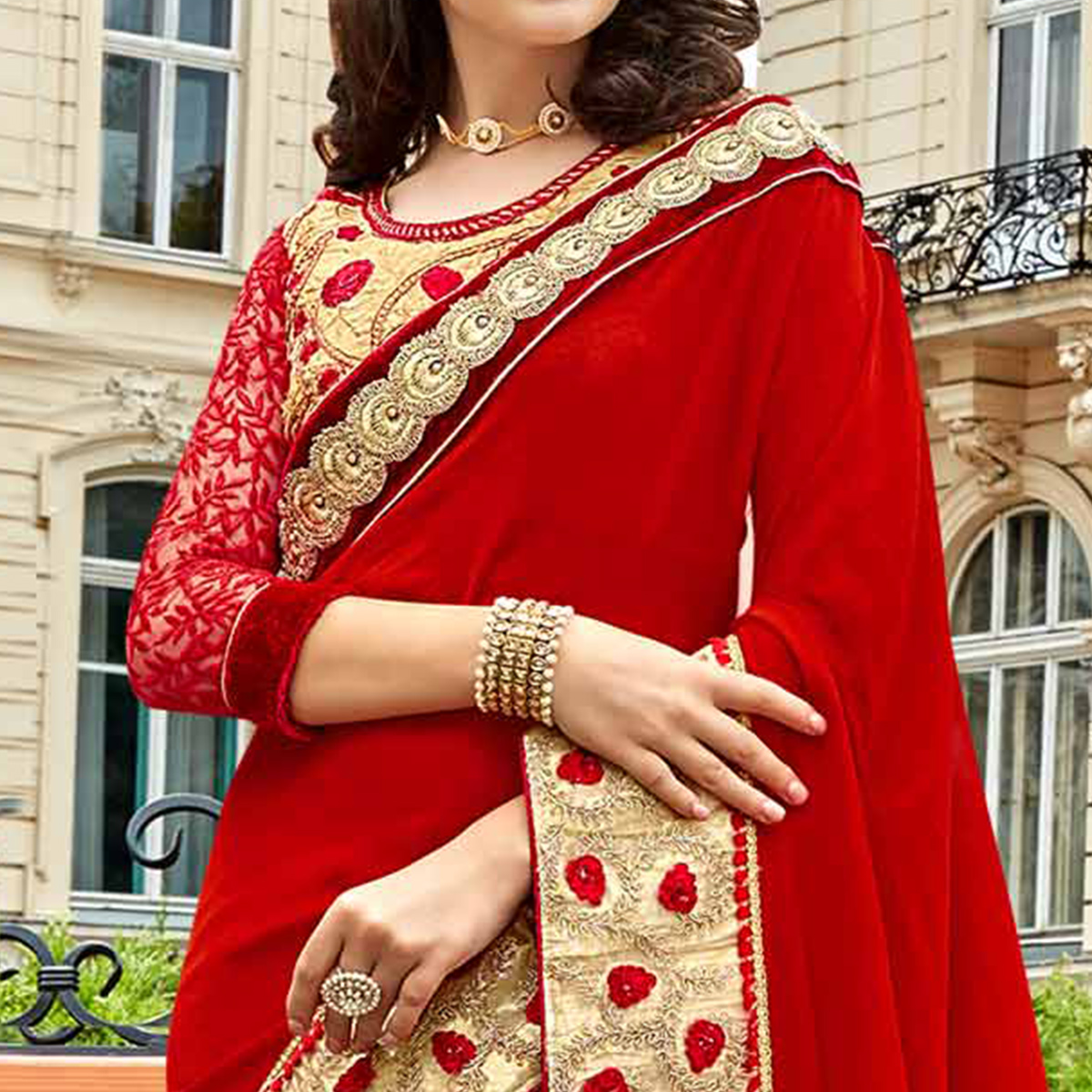 Entrancing Red Colored Party Wear Embroidered Georgette Saree
