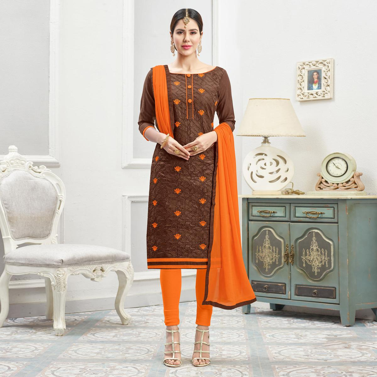 Dazzling Brown - Orange Embroidered Cotton Dress Material