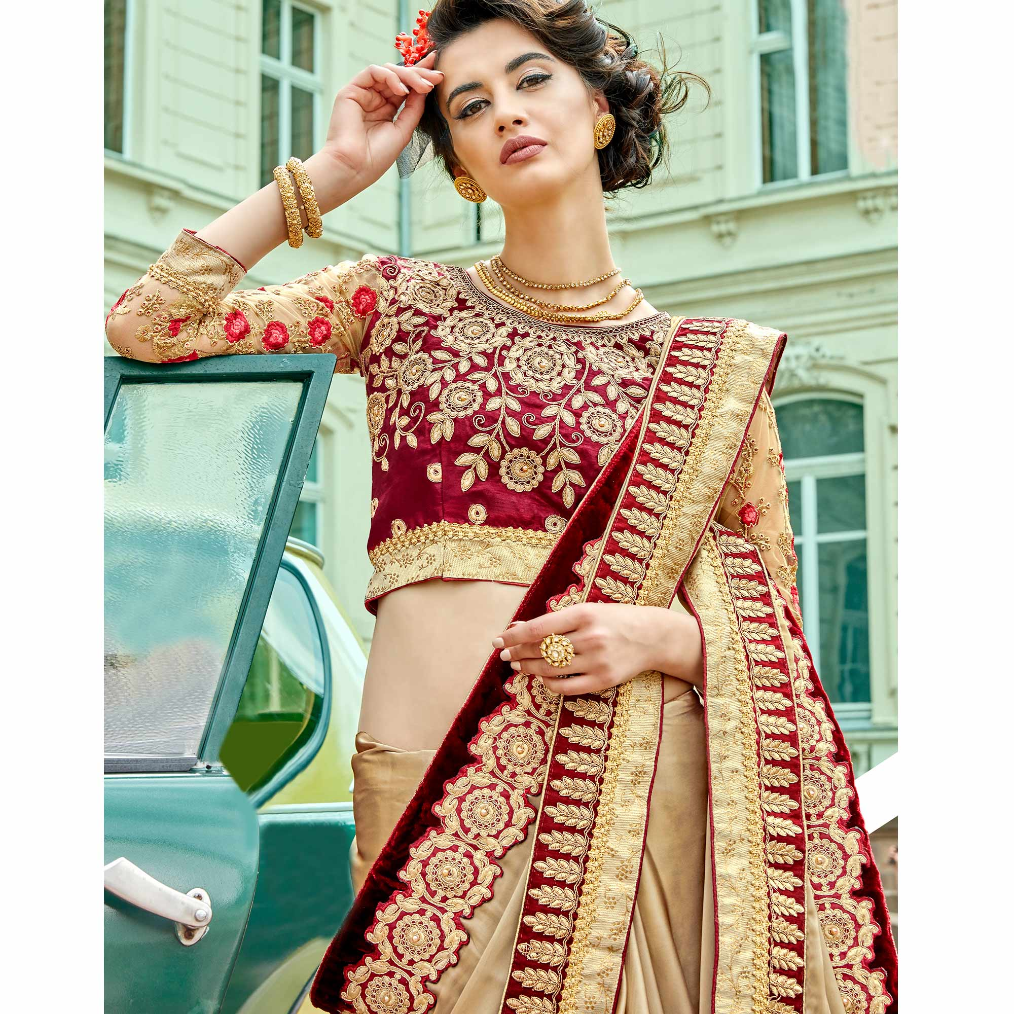 Fantastic Beige Colored Party Wear Embroidered Georgette Saree