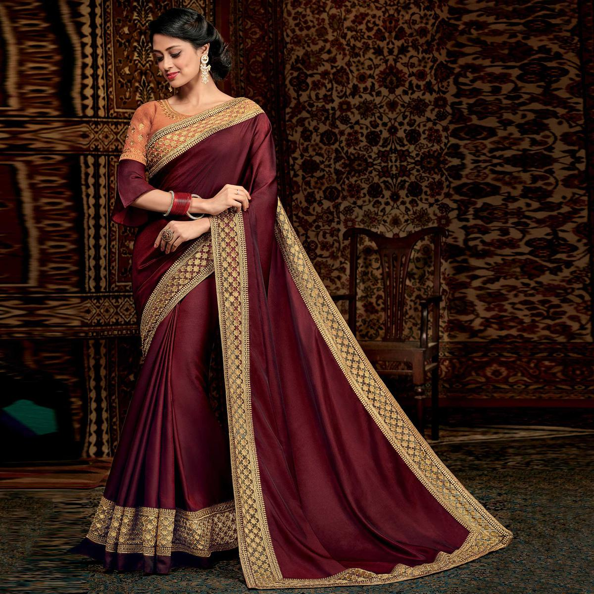 Traditional Maroon Colored Partwear Embroidered Silk Saree