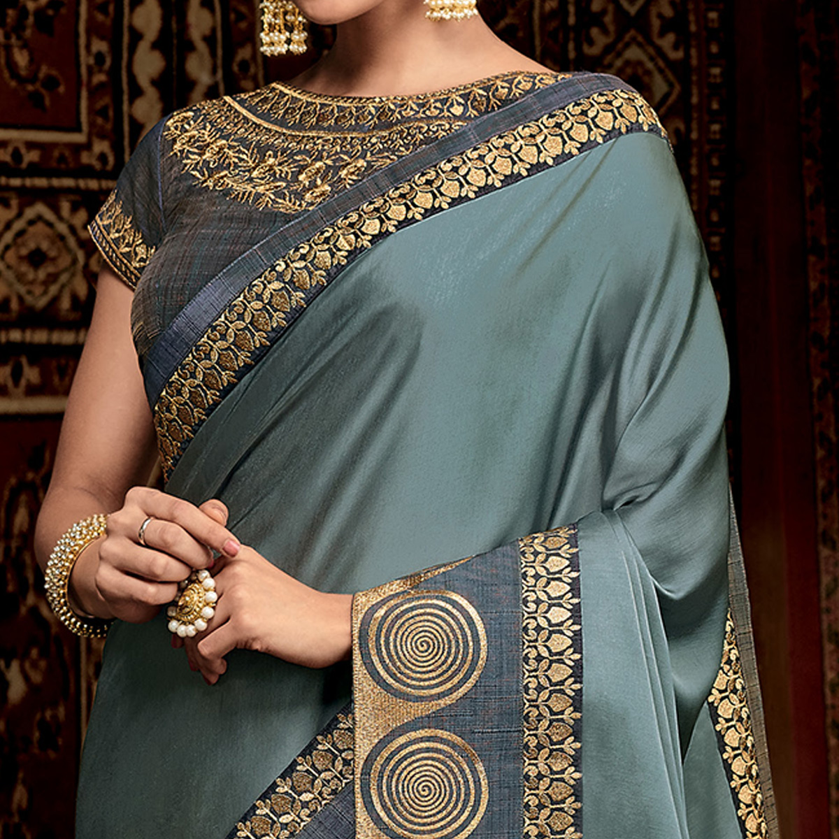 Trendy Gray Colored Partwear Embroidered Silk Saree
