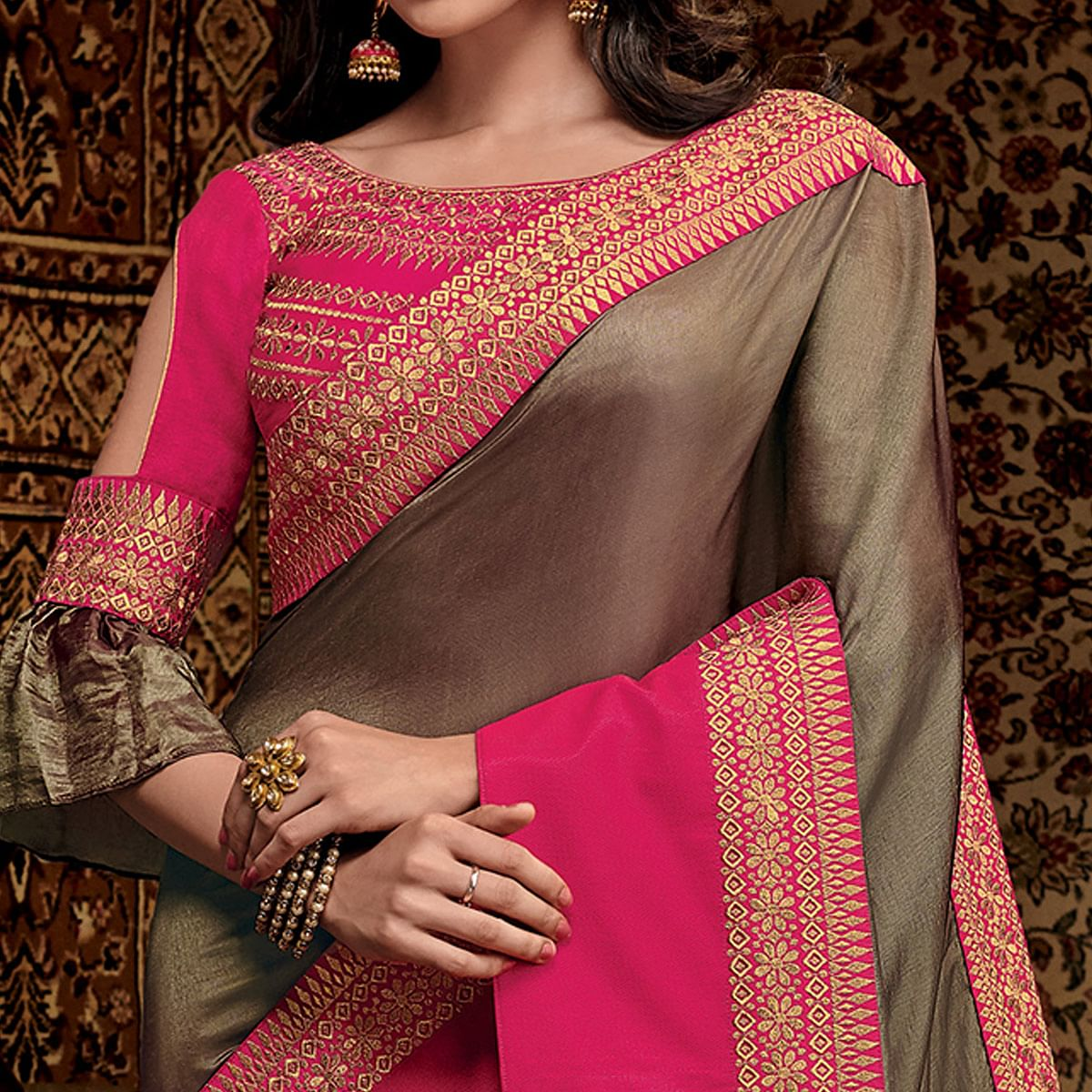 Exceptional Gray-Pink Colored Partwear Embroidered Silk Saree