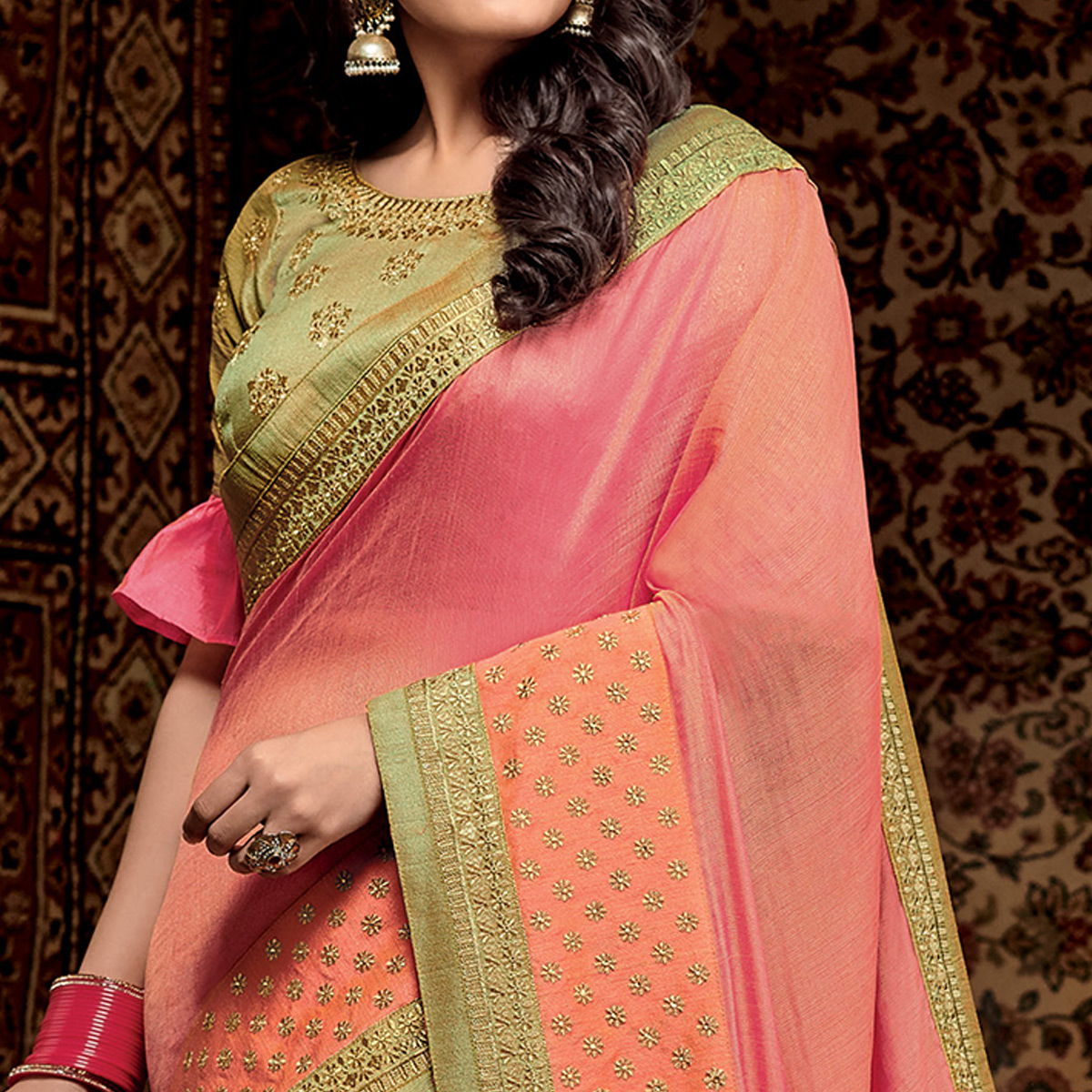 Hypnotic Pink Colored Partwear Embroidered Silk Saree