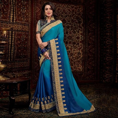 Desiring Blue Colored Partwear Embroidered Silk Saree