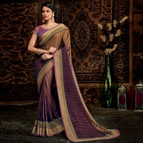 Arresting Purple Colored Partwear Embroidered Silk Saree