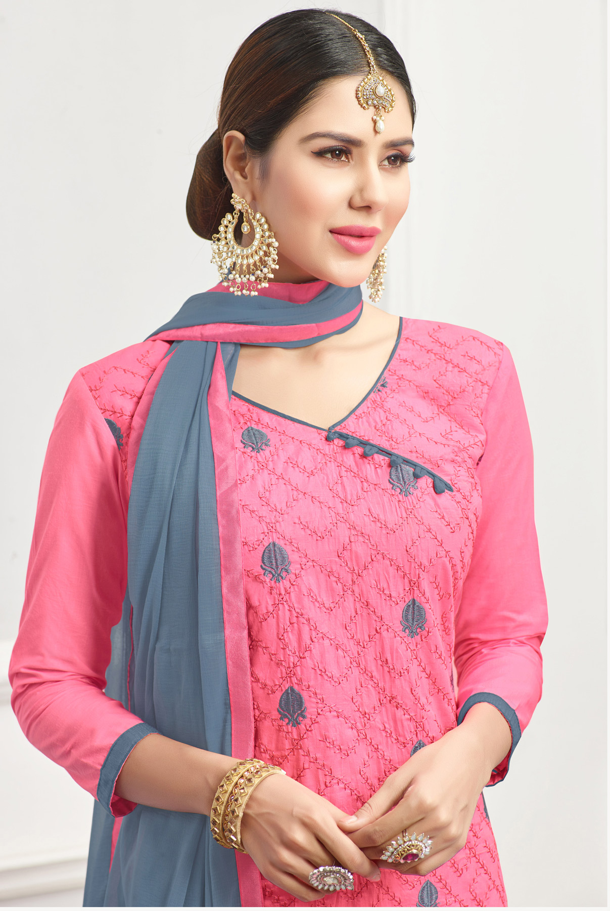 Delightful Light Pink - Grey Embroidered Cotton Dress Material