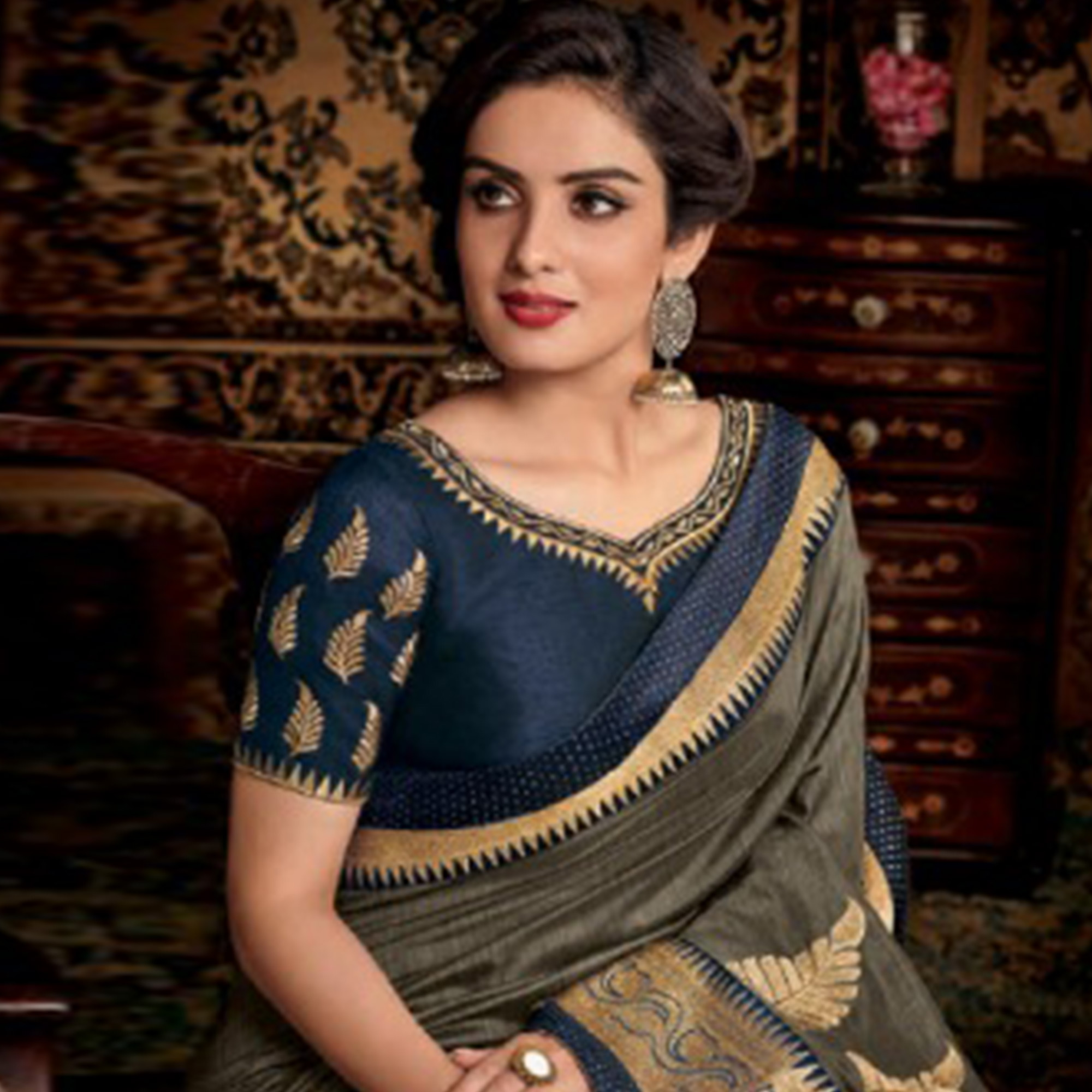 Sophisticated Gray Colored Partwear Embroidered Silk Saree