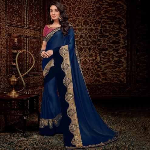 Irresistible Blue Colored Partwear Embroidered Silk Saree