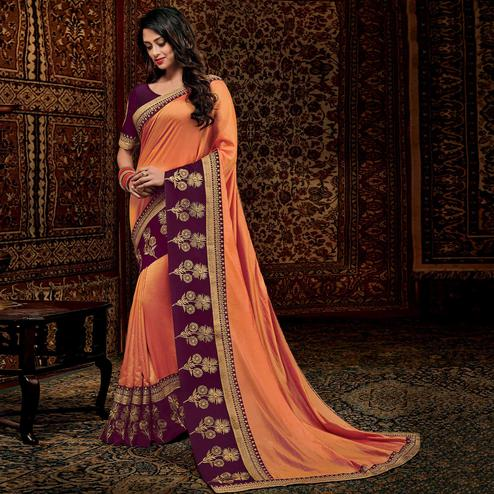 Impressive Orange Colored Partwear Embroidered Silk Saree